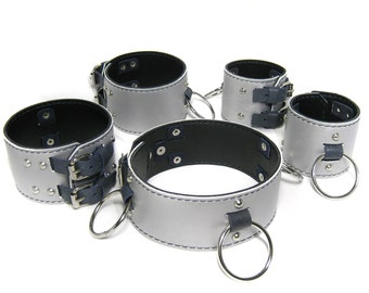 """BDSM set """"Metallic"""" which includes a collar and restraints for arms and legs"""