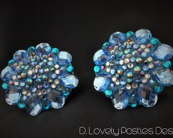 "The ""Shower Together"" blue turquoise burlesque pasties nipple tassels"