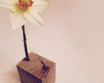 Wood / European Oak Desk Vase.