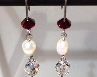 Swarovski Crystal, Freshwater Pearl and Sterling Silver Wire Earrings