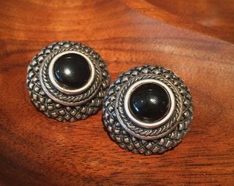 Wicked World - Vintage Black Onyx Silver Statement Earrings