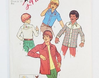 70s Boys Shirt Pattern | Simplicity 7028 Boy's Shirt Pattern with Embroidery Transfer  Boys 7 & 8 | 70s Sewing Pattern
