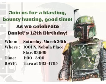 Star Wars Boba Fett Digital Printable Birthday Invitations