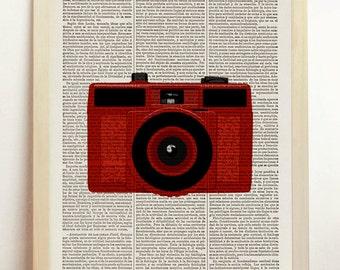 Red Lomo Lomography Camera Print Retro Poster Photo Vintage Pop Art Illustration Nursery Upcycled Art Book Dictionary