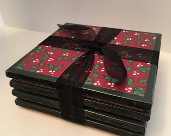 Set of four Christmas holly coasters