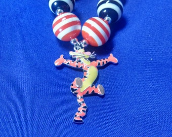 Tigger Winnie the Pooh Toddler Bubblegum Necklace.  Tigger Girls Gumball Necklace Tiger Necklace