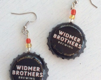 Earrings | Widmer Brothers Hefe | Red, White, & Gold Beads