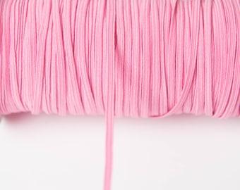 Pink skinny FOE Elastic, elastic by the yard, pink fold over elastic, foldover elastic headband, pink elastic hair ties, wholesale elastic
