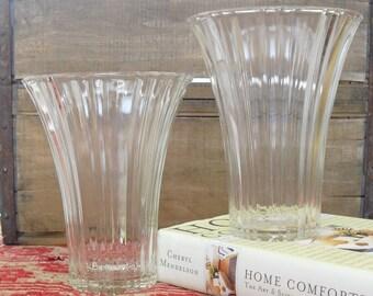 """Vintage Anchor Hocking Ribbed Fluted Glass Vase, Valentine's Day Flower 7"""" Clear Glass, Centerpiece, Elegant Flower Holder, Flower Vessel"""