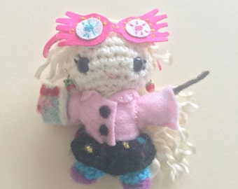 Luna Lovegood Inspired Amigurumi / Crochet Doll with Spectrespecs, Radish Earrings, and Quibbler