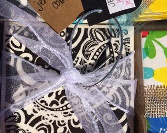 black and white paisley handmade tile beverage coasters- set of 4