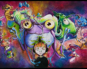 THINK (Original Artwork) Signed Art Print of a Surreal and Colourful Scene