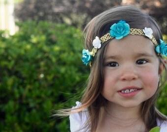 Princess Flower Crown, Turquoise flower crown, Baby Headband,  Princess Headband, Baby Flower Crown, Boho Headband, Flower Girl Crown