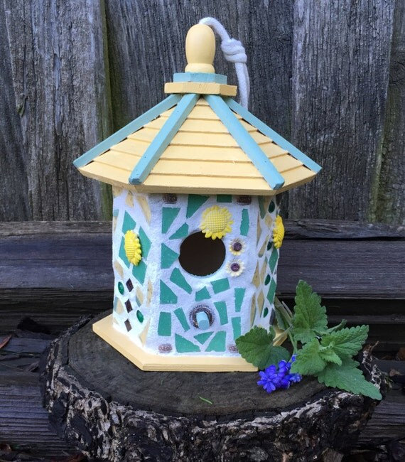 Decorative Bird House Theme And Kids Rooms Ideas: Mosaic Birdhouse Bird House Birdhouse Garden Decor Garden