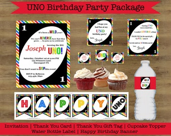 UNO Birthday Party Package; UNO Birthday Party Printables; UNO Birthday Invitation; First Birthday Party Invitations; Rainbow Birthday Party
