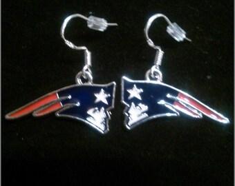 NFL New England Patriots Logo Earrings on .925 Hooks
