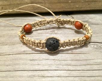 Women's Hemp Bracelet with Red Jasper and Black Lava Stone Beads