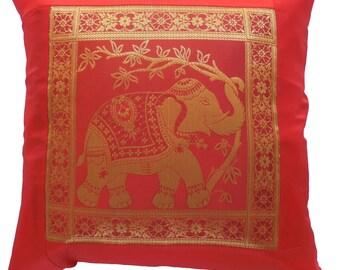 Pillowcase pillow cover various colors elephant with flowers size 41.5 x 41.5 cm Thai silk