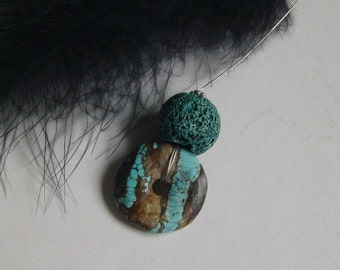 50 cm - size necklace - turquoise - donuts with coloured lava-