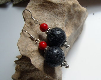 Earrings made of 925 Silver + coral + lava - earrings