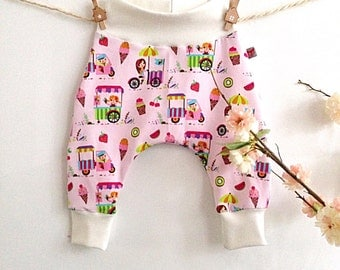 Baby harem pants ice cream cart (Pink)