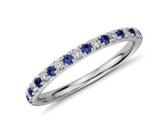 Diamonds and Sapphires 14k Gold Half Eternity Ring. Sapphire eternity band. Eternity ring. Sapphire band. Diamond ring. Wedding band.