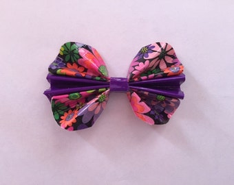 Floral and Purple Duct Tape Hair Bow