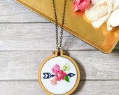 Arrow Embroidery Design, Arrow Necklace, Floral Embroidery Design, Flowers, Arrows, Hand Embroidery, Modern Needlepoint, Gifts for Her