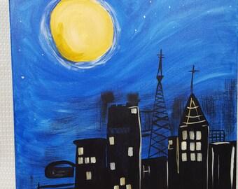 Whymsical Night Skyline
