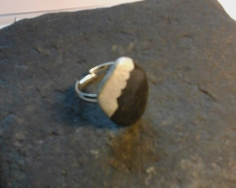 River stone ring, pebble grey ring,jewellery gift,silver plated.