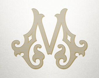 Single Antique Letter - M - Antique Letter - Digital