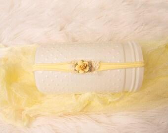 Yellow Baby Headband, Newborn Headband, Baby Headband, Yellow Tieback