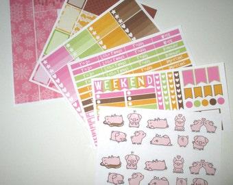 Cute Piggies Full Week Planner Sticker Kit