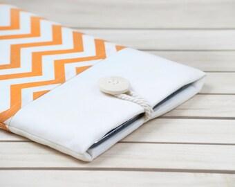 iPad Air sleeve, iPad Air 2 sleeve, iPad cover, iPad Pro case, iPad Pro sleeve,  padded - orange chevron
