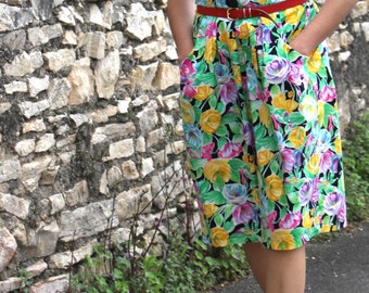 Green yellow flowered dress and pink Vintage 80s