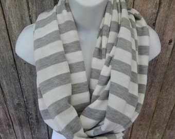 Gray and White Striped  Infinity Scarf
