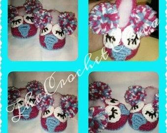 Owl baby booties- handmade crochet