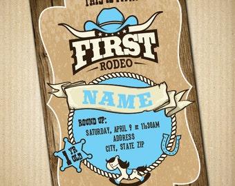Cowboy Birthday Invitation First Rodeo Personalized Baby Birthday Invitation