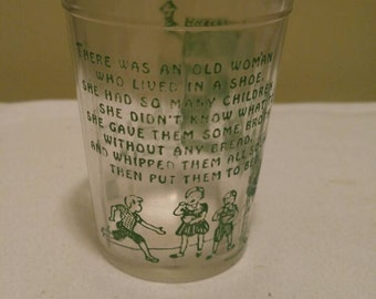 Vintage Nursery Rhyme There was an Old Woman who Lived in a Shoe Green Glass Jelly Juice Jar