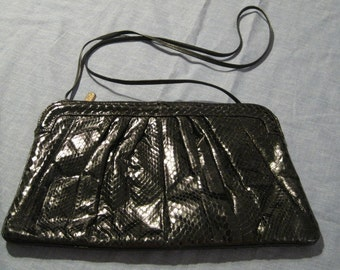 Vintage 1980s Palizzio Black Snakeskin Shoulder Bag