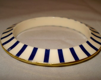 navy blue and cream bracelet bangle
