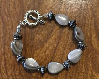 Teardrop Freshwater Pearls and Antique Silver Bead Bracelet