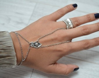 Silver Bracelet Ring, Boho Slave Bracelet Ring, Ring Bracelet, Slave Bracelet, Boho Hand Chain, Hand flower jewelry, Bohemian jewelry