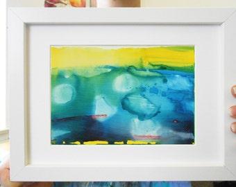 Modern Blue Abstract Painting- Original Abstract Painting - Ink Painting - Modern Art- Blue and Yellow Art