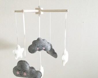 Kawaii grey sleepy Clouds and white Star baby mobile