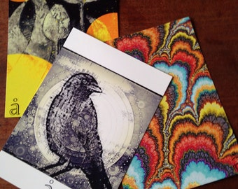 3 Colourful and black and white postcards , bird,crow,tulips, flowers,fractals ,dots,lines,birthday card,,circles
