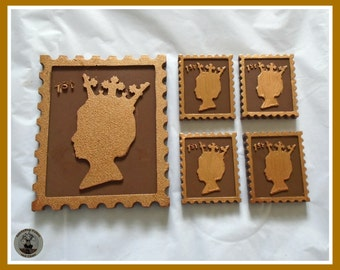 Stamps Chocolate Gift/Queen of England/Postage/Philatelist/Postman/Collector/Novelty/Grandparent/Dad/Brother/British/UK/Edible gift/Men/Male