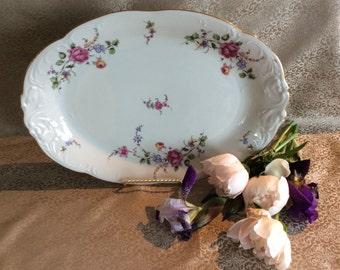 """Vintage Wawel Poland oval serving plate ceramic floral pattern  15"""" x 10.5"""" platter"""