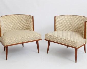 Pair of Mid Century Barrel Back Walnut Frame Arm Chairs / Hollywood Regency