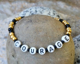 Courage - Black and Gold - Heart Charm